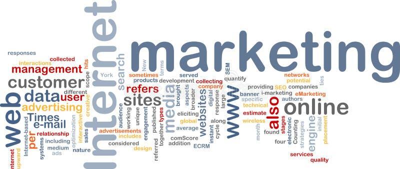 Nuvem da palavra do mercado do Internet ilustração stock