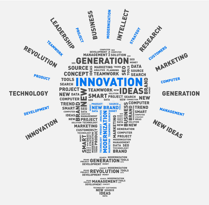Nuvem da palavra do vetor da ampola da inovação ilustração royalty free