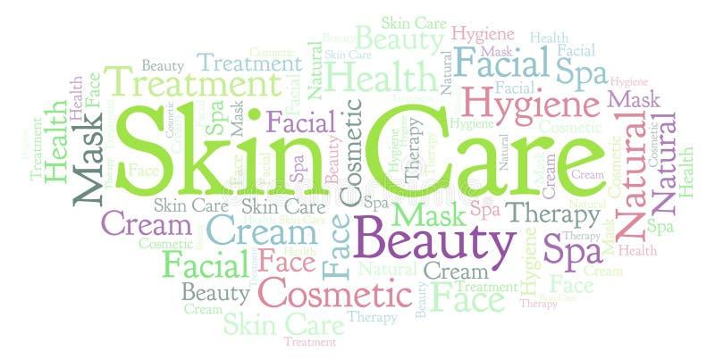 Nuvem da palavra dos cuidados com a pele ilustração stock