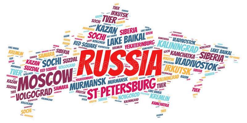 Nuvem da palavra dos destinos do curso da parte superior de Rússia fotografia de stock royalty free