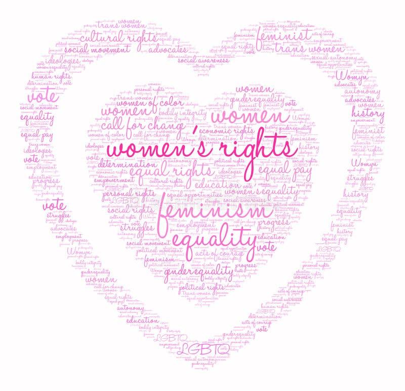 Nuvem da palavra dos direitos das mulheres ilustração royalty free