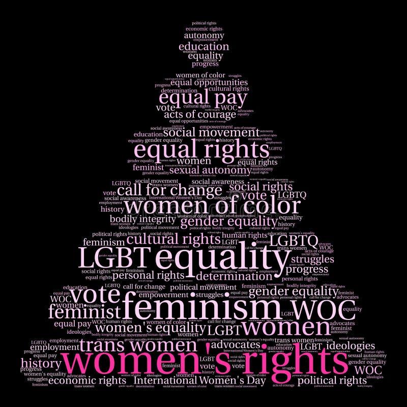 Nuvem da palavra dos direitos das mulheres ilustração do vetor