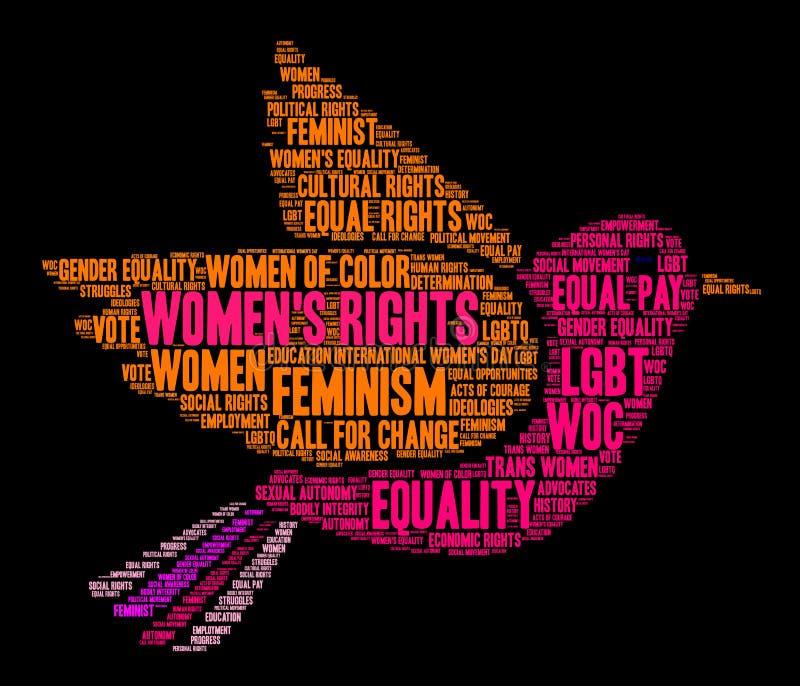 Nuvem da palavra dos direitos das mulheres ilustração stock