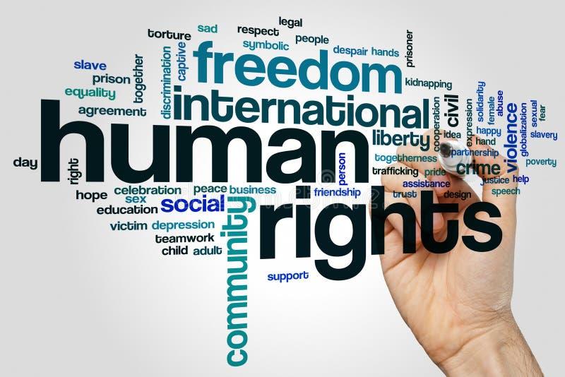 Nuvem da palavra dos direitos humanos foto de stock