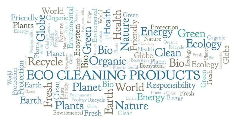 Nuvem da palavra dos produtos de limpeza de Eco ilustração royalty free