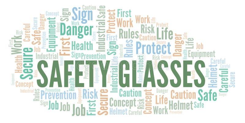 Nuvem da palavra dos vidros de segurança ilustração do vetor