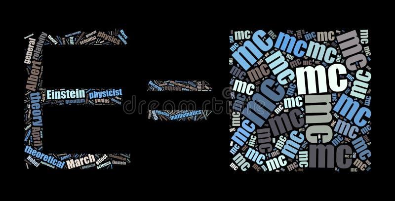 Nuvem da palavra E=mc2 no preto ilustração stock