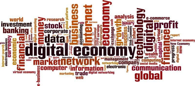 Nuvem da palavra da economia de Digitas ilustração royalty free