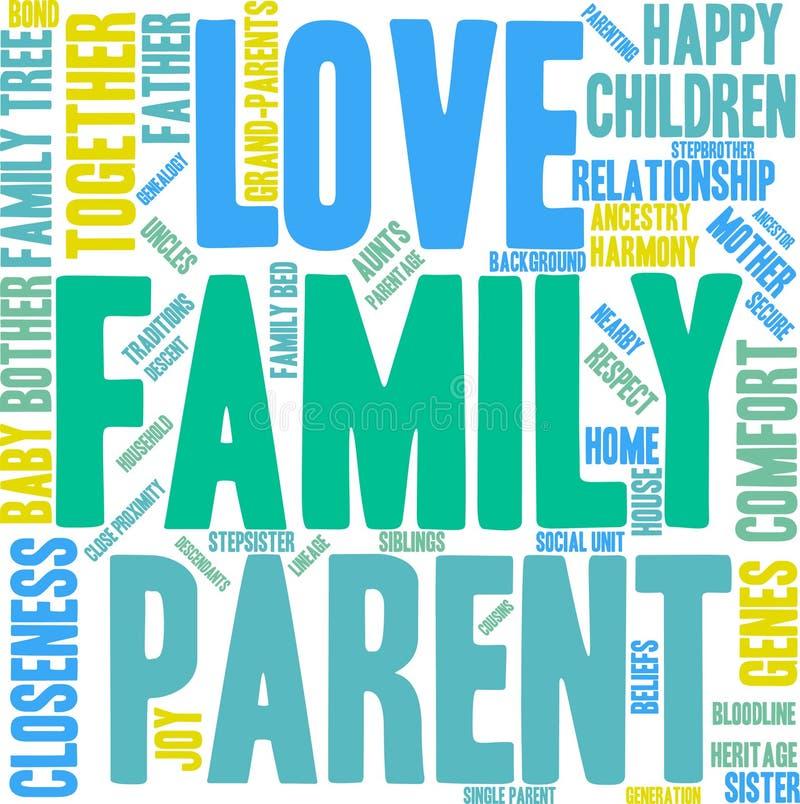 Nuvem da palavra da família ilustração stock