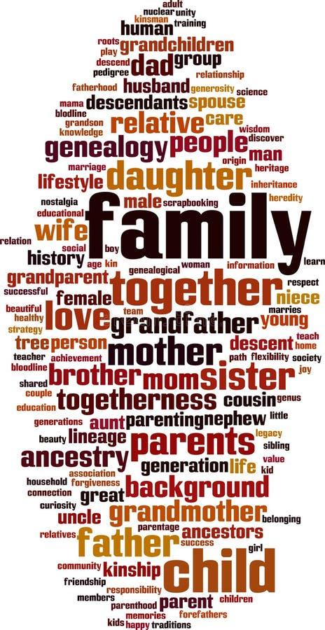 Nuvem da palavra da família ilustração royalty free