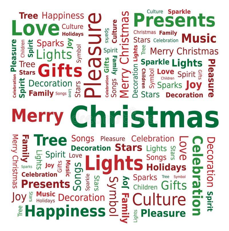 Nuvem da palavra - Feliz Natal ilustração stock