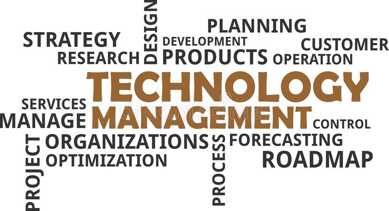 Nuvem da palavra - gestão da tecnologia ilustração do vetor