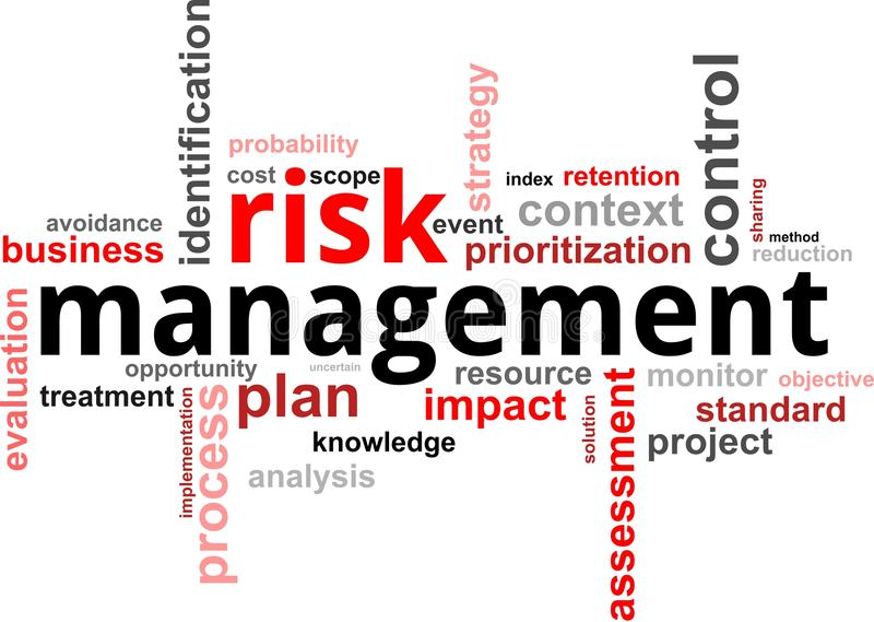 Nuvem da palavra - gestão de riscos ilustração stock