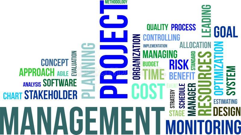 Nuvem da palavra - gestão do projeto ilustração do vetor