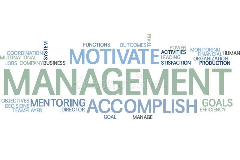 Nuvem da palavra da gestão ilustração stock