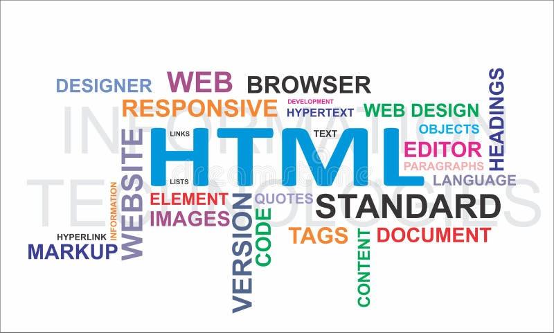 Nuvem da palavra - HTML ilustração royalty free