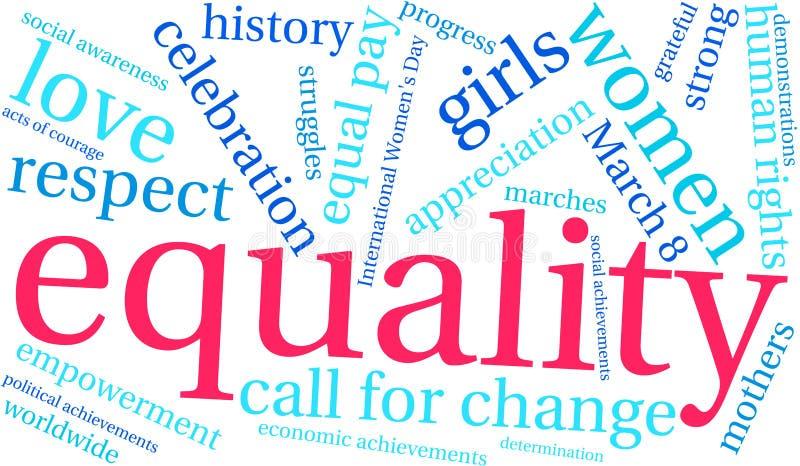 Nuvem da palavra da igualdade ilustração royalty free
