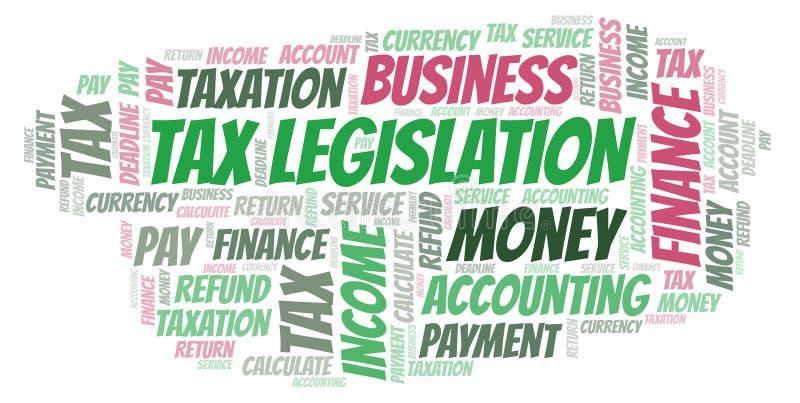 Nuvem da palavra da legislação do imposto foto de stock