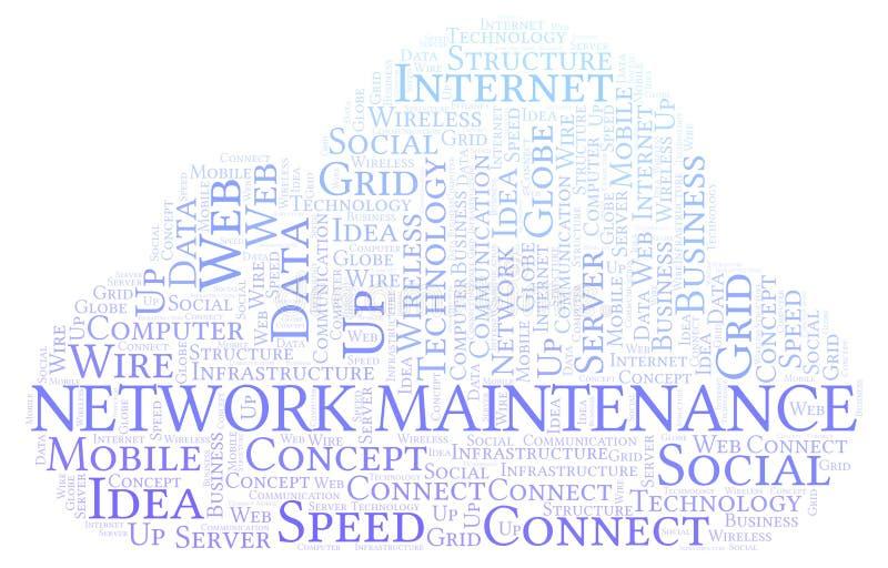 Nuvem da palavra da manutenção da rede ilustração royalty free