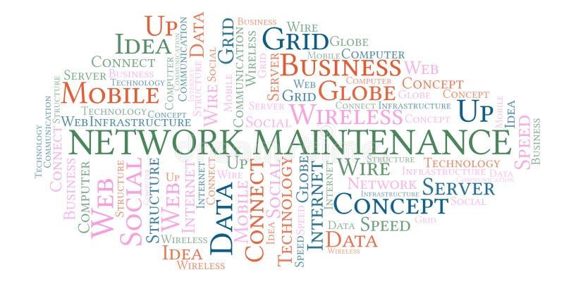 Nuvem da palavra da manutenção da rede ilustração stock