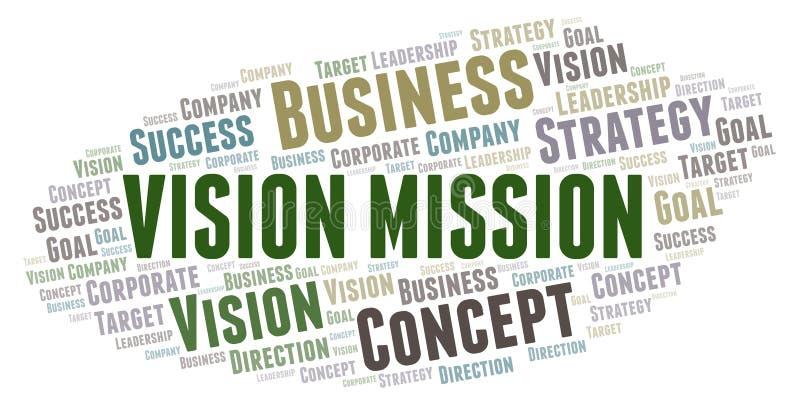 Nuvem da palavra da missão da visão ilustração stock