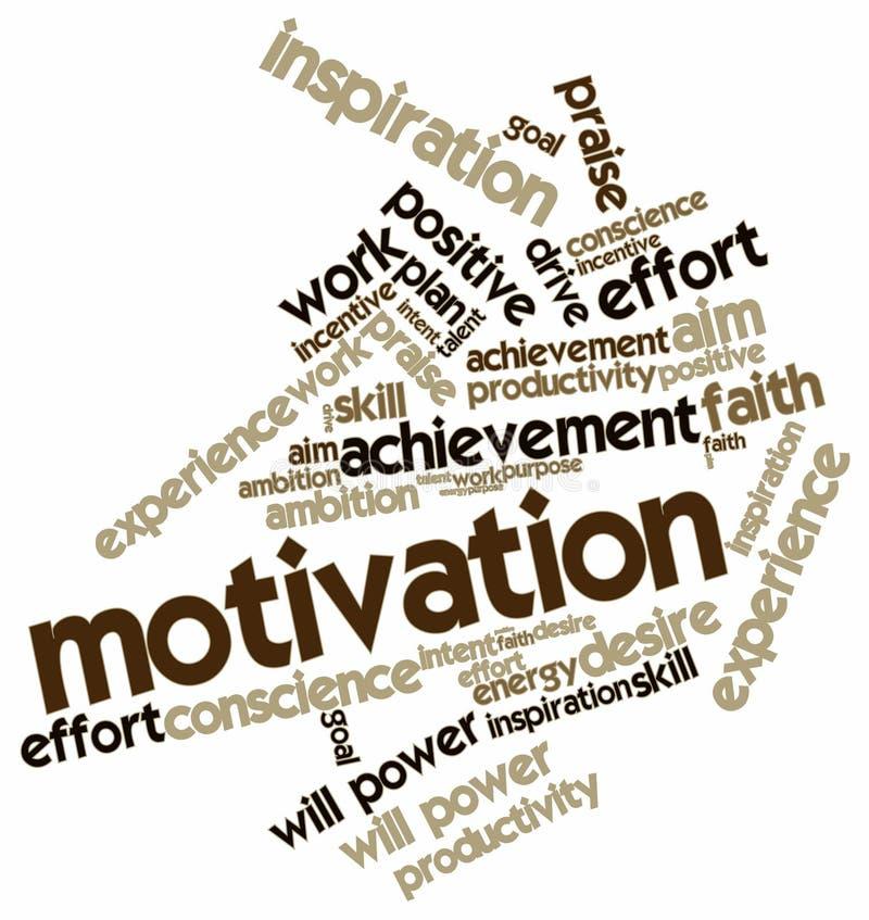 Nuvem da palavra para a motivação ilustração stock