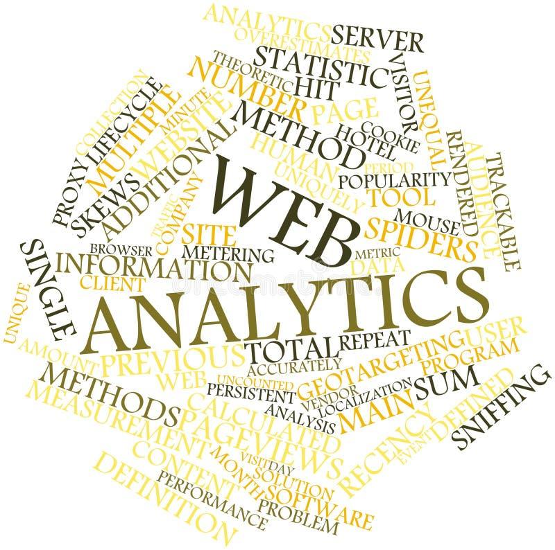 Nuvem da palavra para o analytics do Web ilustração stock