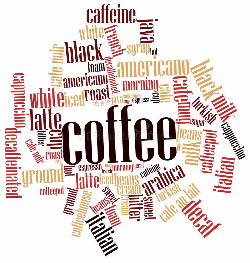 Nuvem da palavra para o café ilustração stock