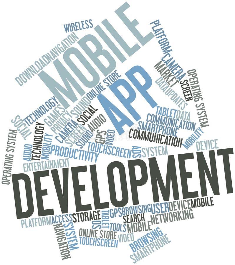 Nuvem da palavra para o desenvolvimento móvel do app ilustração royalty free