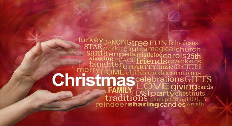 Nuvem da palavra para o Natal ilustração stock