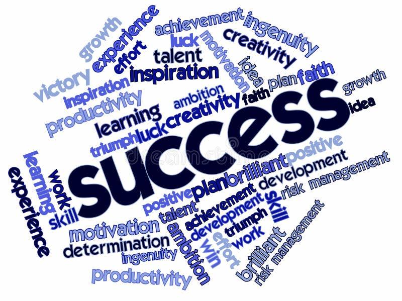 Nuvem da palavra para o sucesso ilustração stock