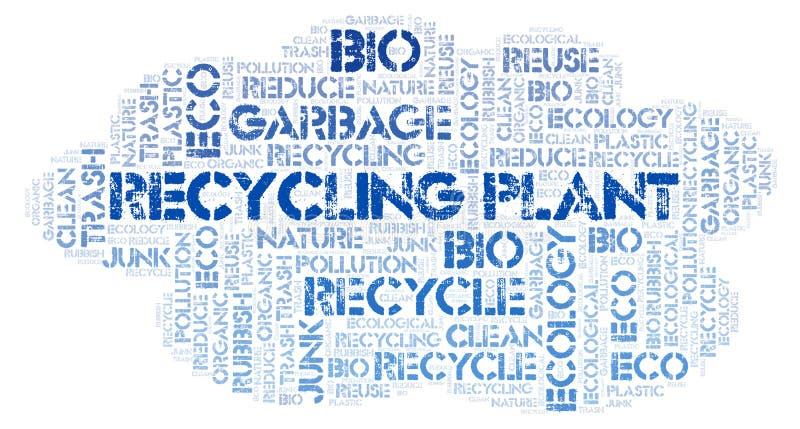Nuvem da palavra da planta de reciclagem imagem de stock