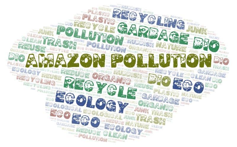 Nuvem da palavra da poluição das Amazonas imagem de stock