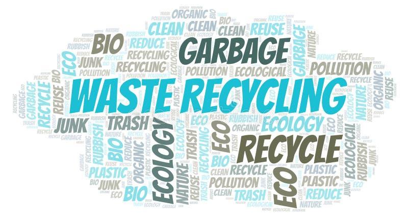Nuvem da palavra da reciclagem de resíduos imagens de stock