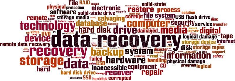 Nuvem da palavra da recuperação dos dados ilustração do vetor