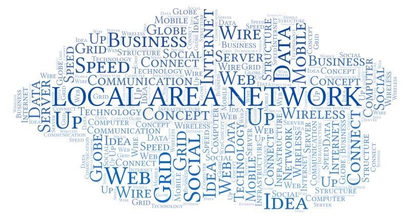 Nuvem da palavra da rede local ilustração do vetor