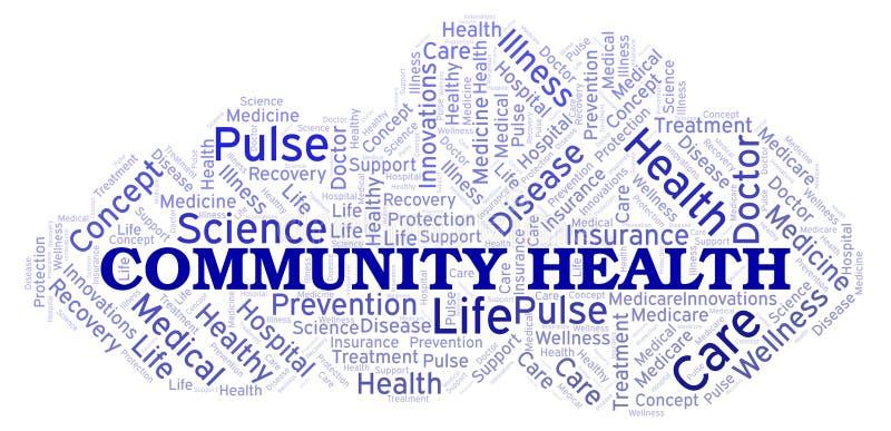 Nuvem da palavra da saúde da comunidade ilustração royalty free