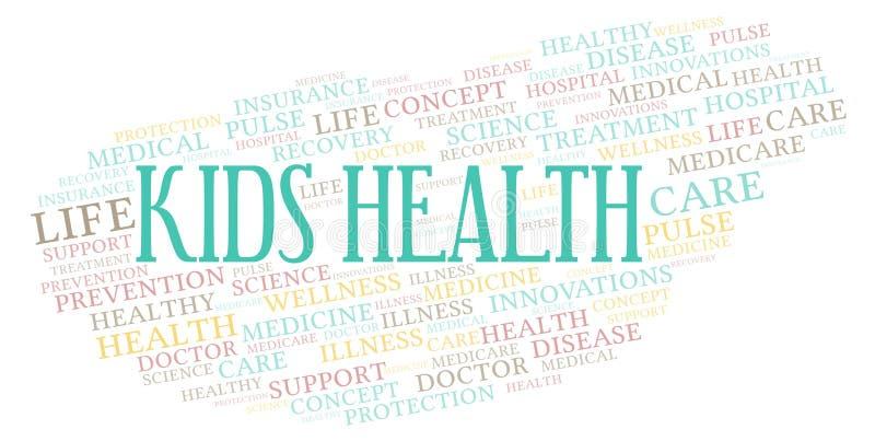 Nuvem da palavra da saúde das crianças ilustração do vetor