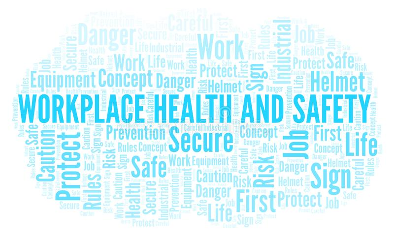 Nuvem da palavra da saúde e da segurança do local de trabalho ilustração do vetor