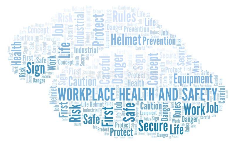 Nuvem da palavra da saúde e da segurança do local de trabalho ilustração royalty free