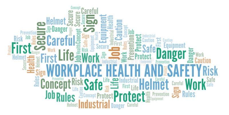 Nuvem da palavra da saúde e da segurança do local de trabalho ilustração stock