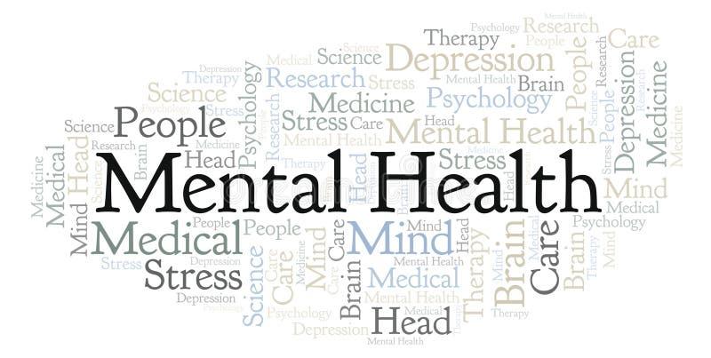 Nuvem da palavra da saúde mental ilustração stock