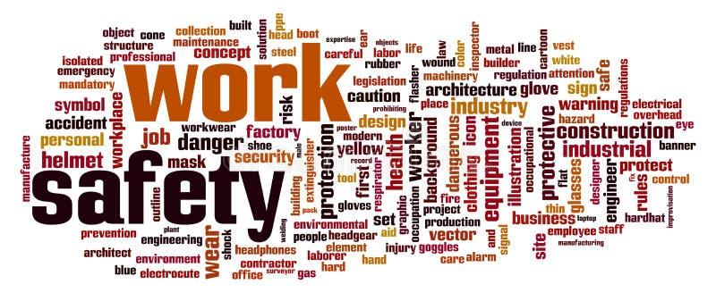 Nuvem da palavra da segurança do trabalho ilustração royalty free