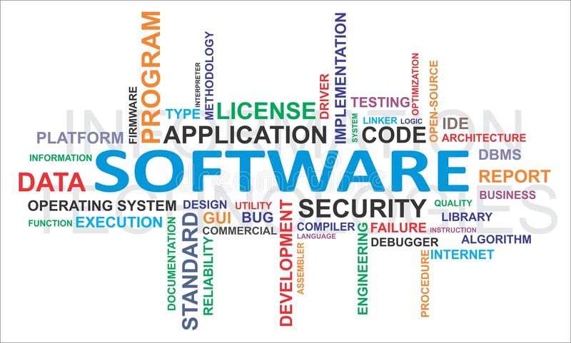 Nuvem da palavra - software ilustração do vetor