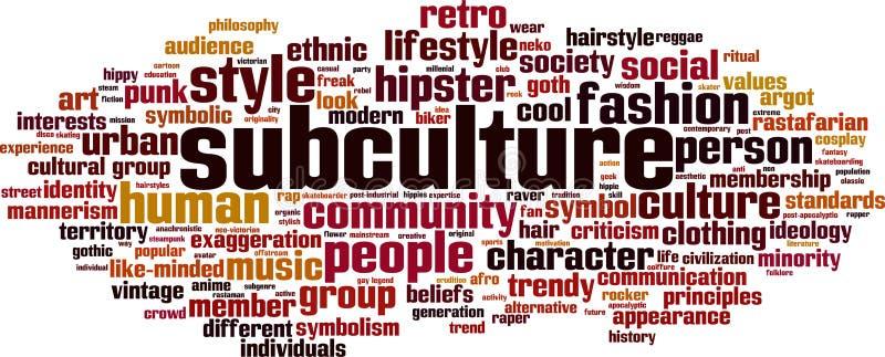 Nuvem da palavra da subcultura ilustração do vetor
