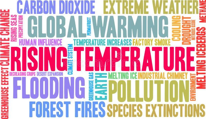 Nuvem da palavra da temperatura de aumentação ilustração royalty free