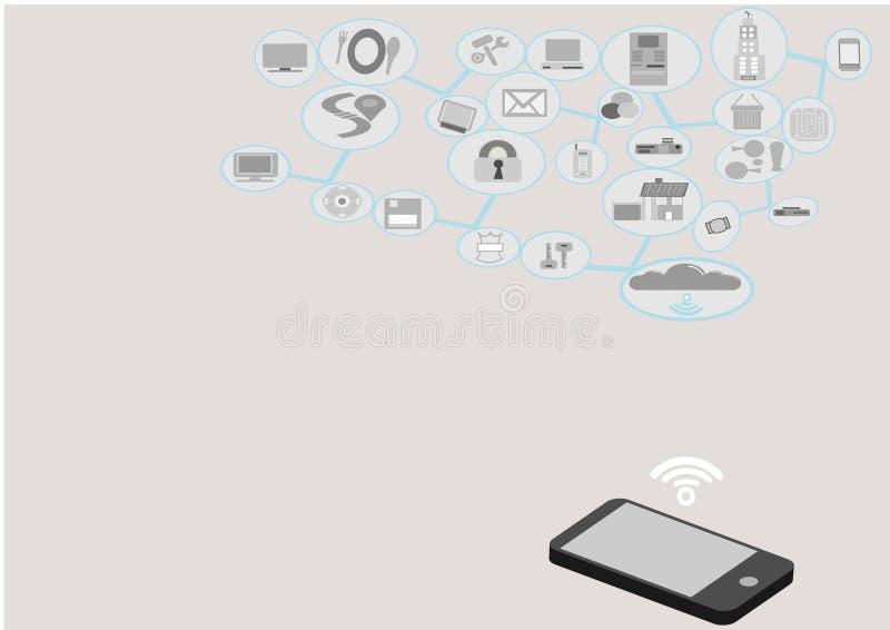 Nuvem da rede Mobilidade e conectividade inter ilustração do vetor