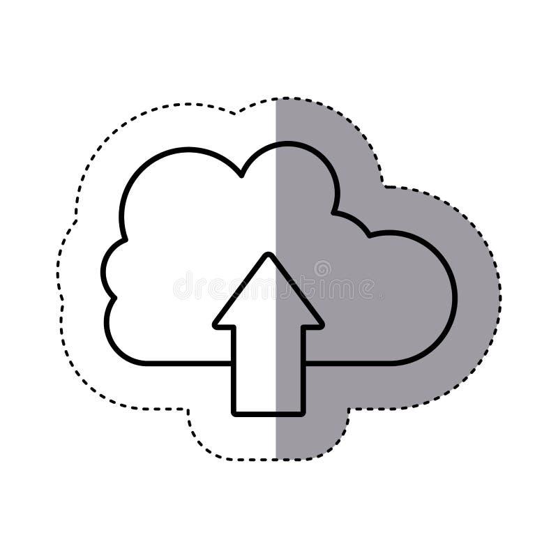 Nuvem da silhueta da etiqueta com a seta no sentido ascendente ilustração royalty free
