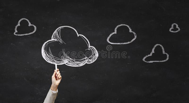 Nuvem da tração da mão fotografia de stock