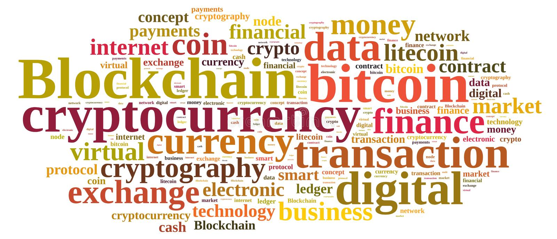 Nuvem das palavras com Blockchain imagens de stock